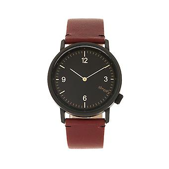 Simplify The 5500 Leather-Band Watch - Black/Maroon
