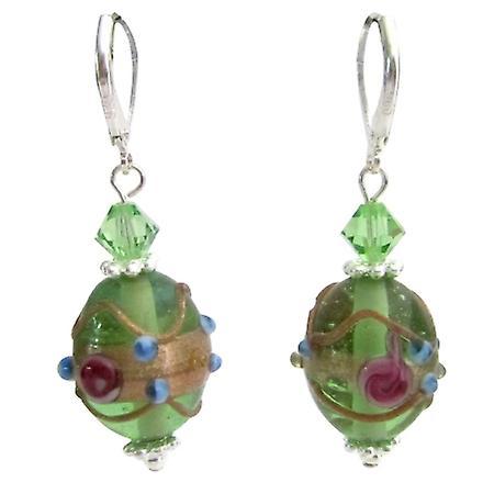 Green Oval Shaped Handmade Lampwork Beads Peridot Crystals Earrings