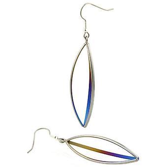 Ti2 Titanium Triangular Wire Drop Earrings - Blue