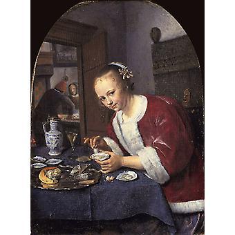 Girl offering oysters,Jan Steen,50x37cm