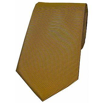 David Van Hagen poziomo prążkowane krawat poliestrowy - ciemne złoto
