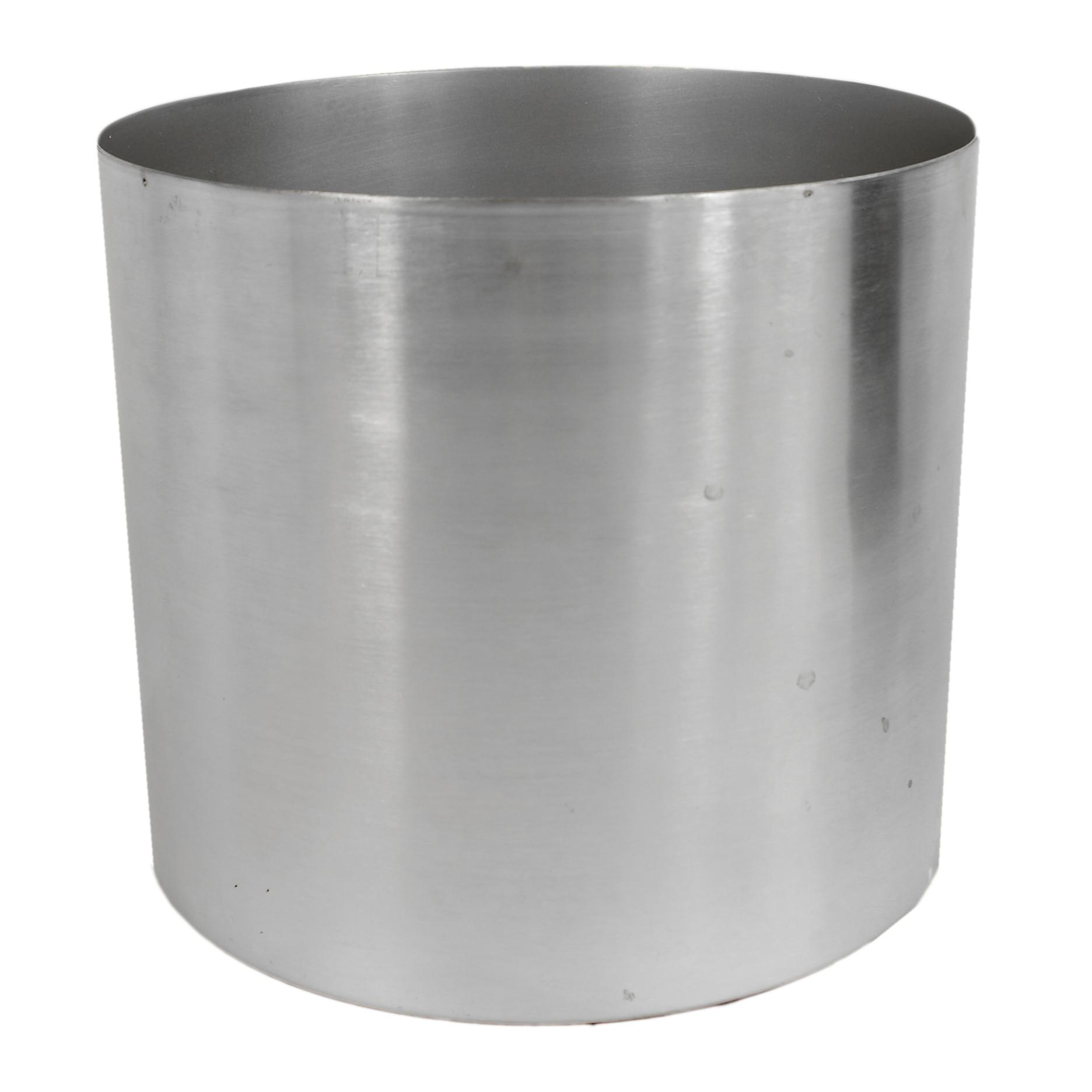 Leaf Metal Planter Plant Pot with Brushed Silver Finish 20 x 18cm
