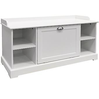 Haven - Wooden Hallway 8 Pair Shoe Storage Cupboard / Bench - White