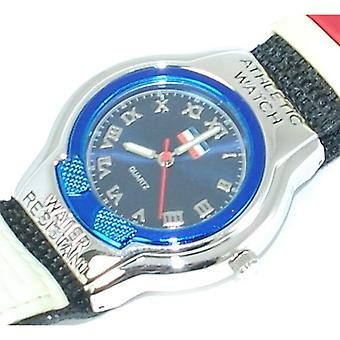 Boxx Boys Blue and Red Striped Sports Athletic Velcro Strap Watch