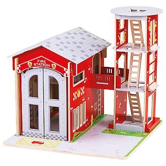Bigjigs Toys Wooden City Fire Station Playset