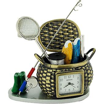 Miniature Fishing Basket & Accessories Tool Set Novelty  Collector Clock IMP1082