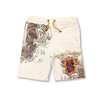 Chritian Audigier jerey hort in cream royal emblem print