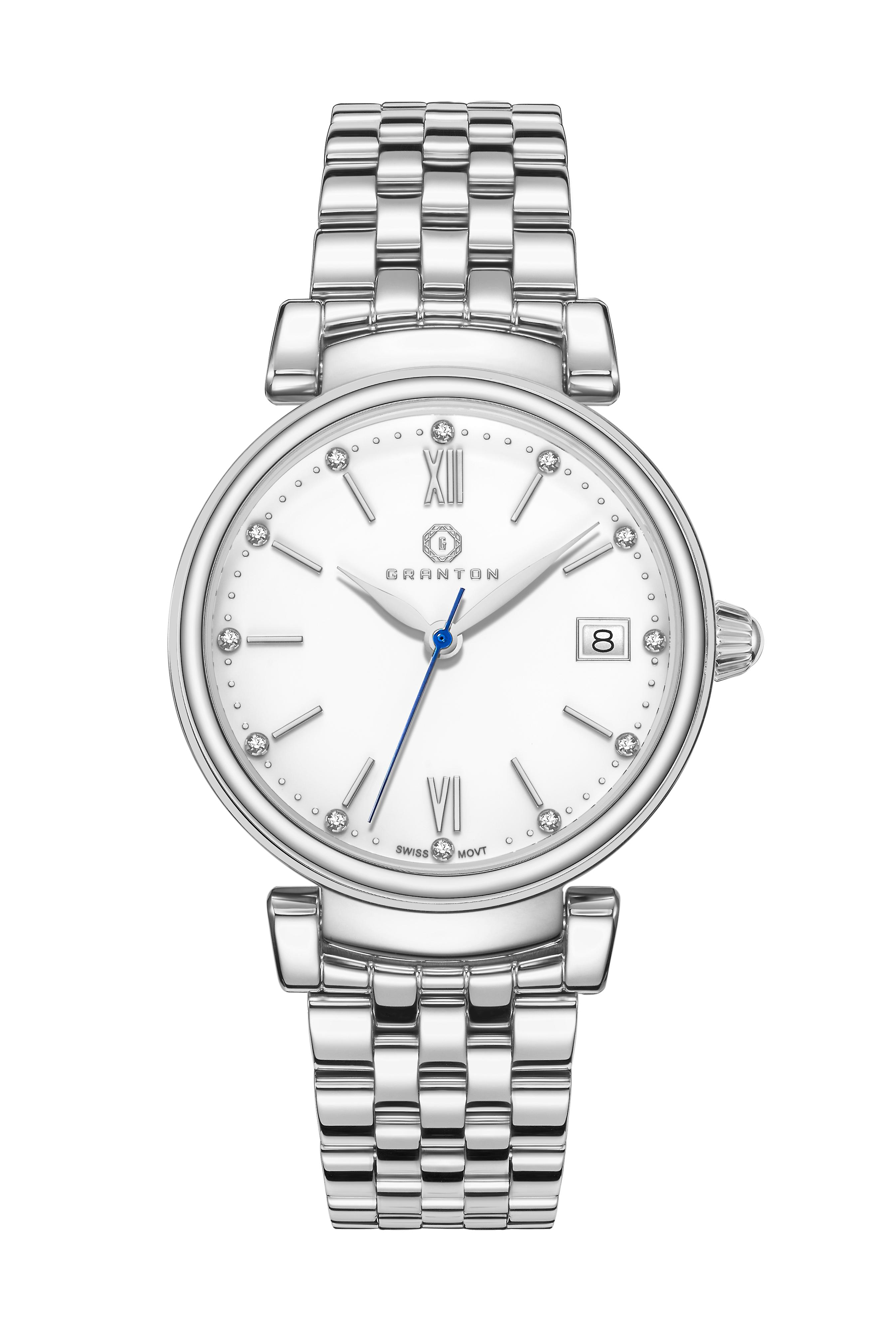 Granton femmes&s argent Tone Watch - Diamond Accented Enamel Dial - Swiss Movement Stainless Steel Ladies Taille Imperial Collection