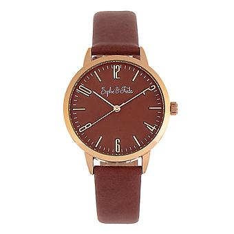 Sophie and Freda Vancouver Leather-Band Watch - Brown