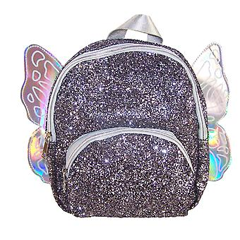 Girls dark silver glitter mini angel backpack
