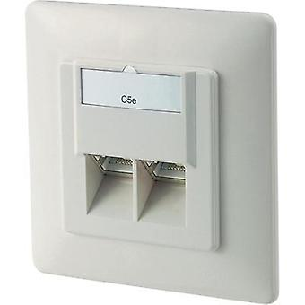 Network outlet Flush mount Insert with main panel and frame CAT 5e 2 ports Digitus Netzwerkdose Pure white