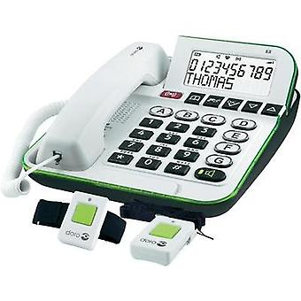 Corded Big Button doro Secure 350 incl. emergency call transmitter, Hands-free Backlit White