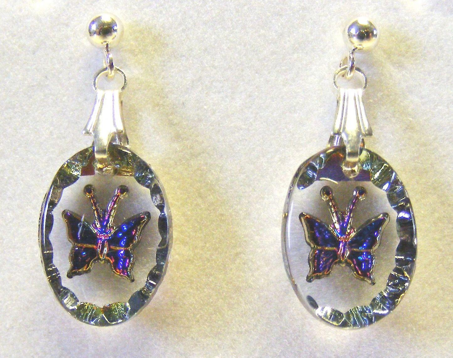 Heliotrope Butterfly Oval Earrings and Small Pendant set