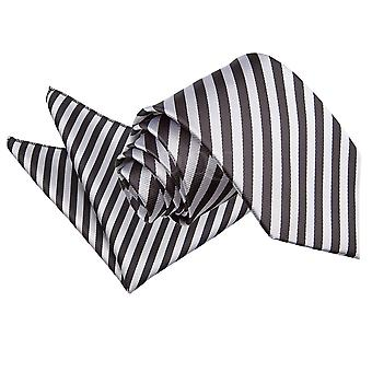 Men's Thin Stripe Black & Silver Tie 2 pc. Set