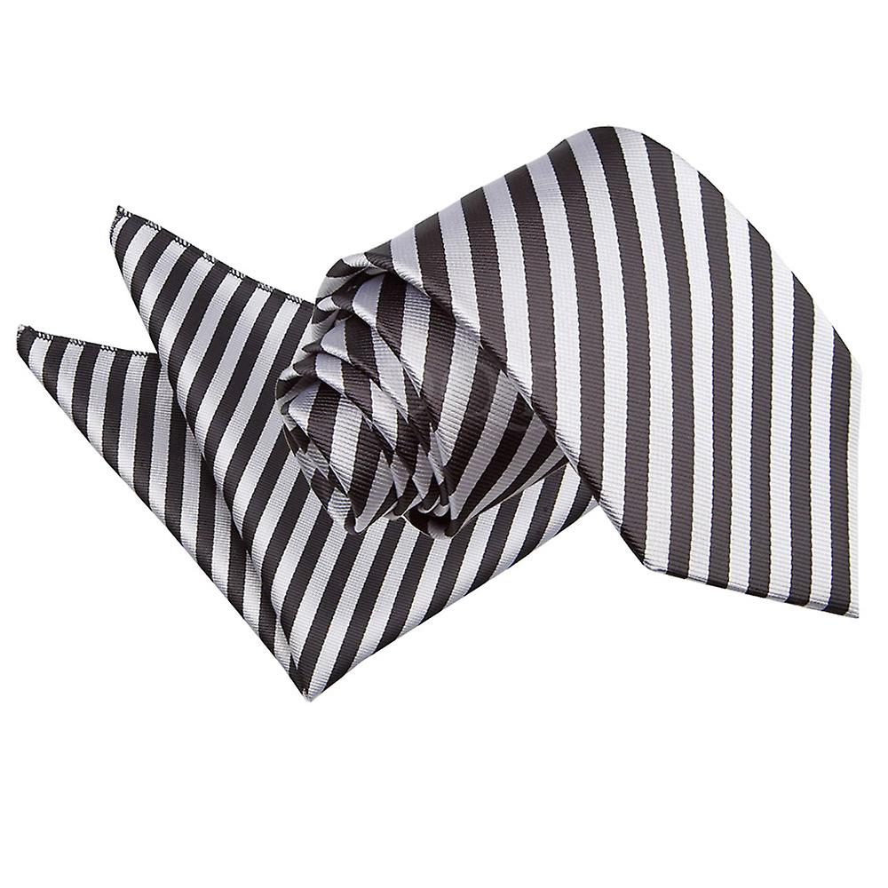 Thin Stripe Black & Silver Tie 2 pc. Set