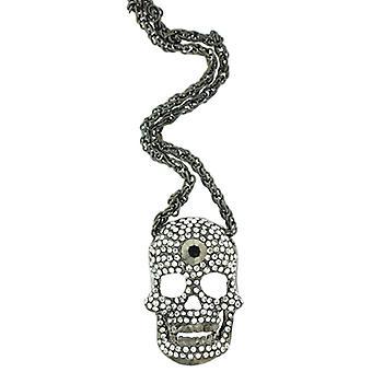 Antik Silver & Black Diamond Crystal Skull huvudet hängande halsband