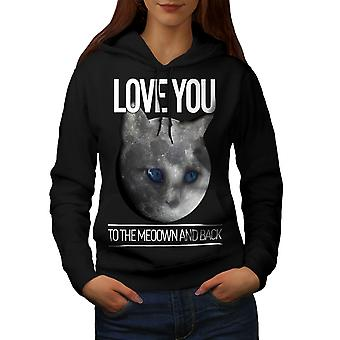 Moon Cute Adorable Cat Women Black Hoodie | Wellcoda