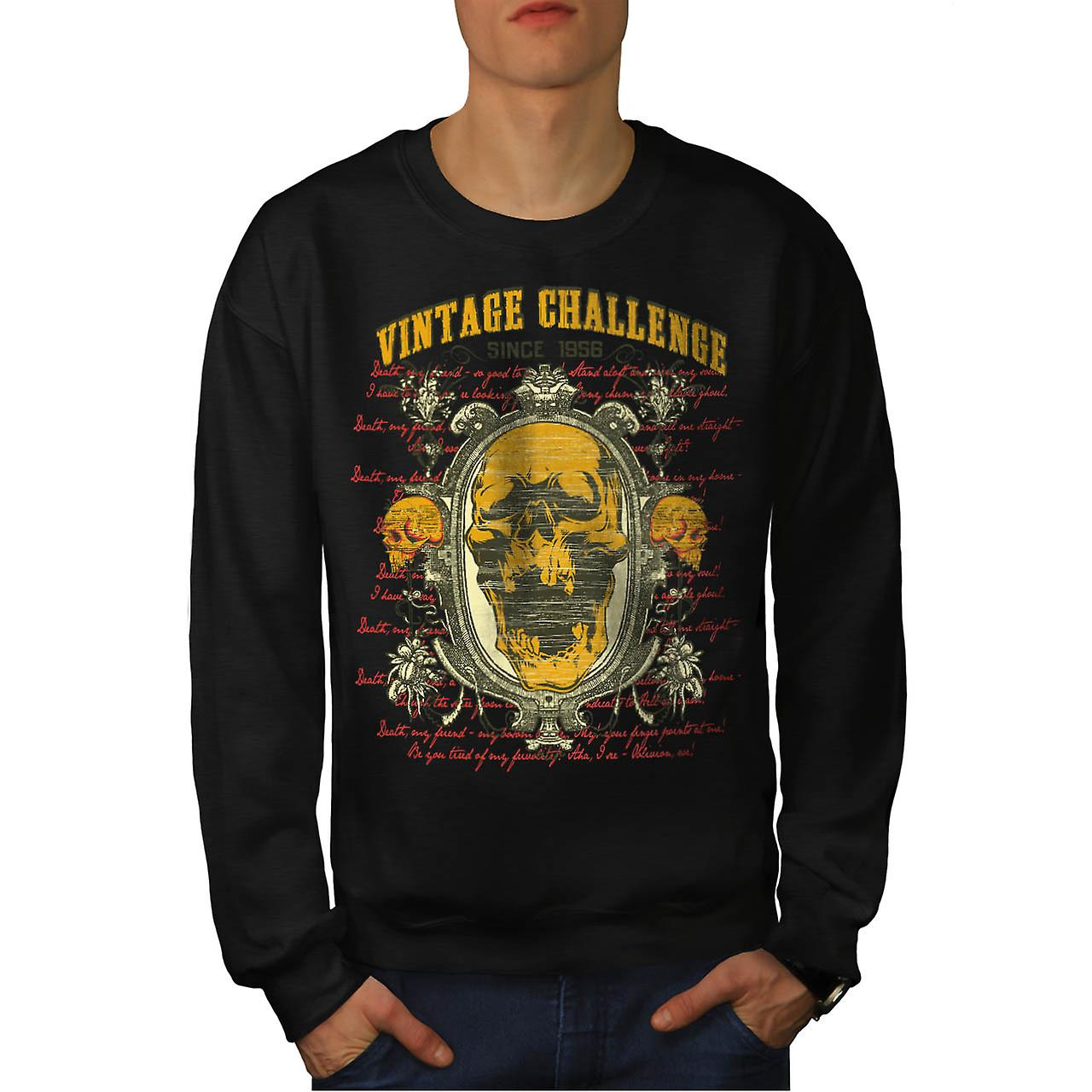 Vintage Challenge USA Skull Head Men Black Sweatshirt | Wellcoda