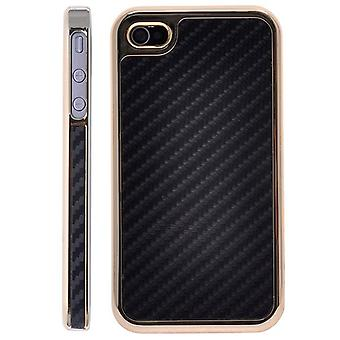 Cover in gold plastic and carbon fiber-iPhone 4/4S (black)