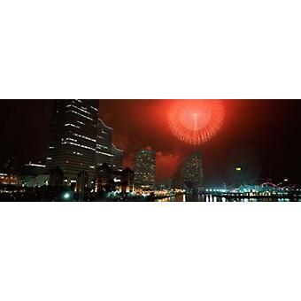Fireworks Display Minato Mirai Yokohama Japan 2010 Poster Print by Panoramic Images (36 x 12)