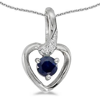 10k White Gold Round Sapphire And Diamond Heart Pendant with 16