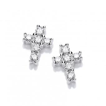 Cavendish French Silver and Cubic Zirconia Mini Cross Earrings