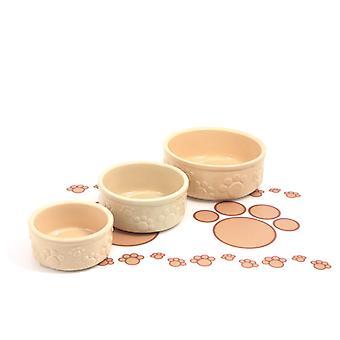 Stoneware Pet Dish Beige Embossed Paw 5