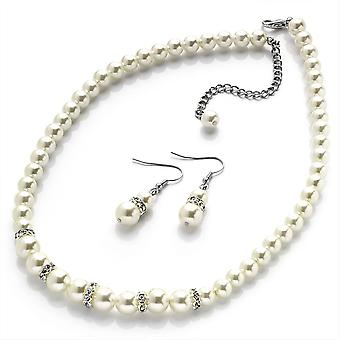 Cream Faux Pearl Glass Bead Crystal Necklace and Earring Set Bridal Wedding