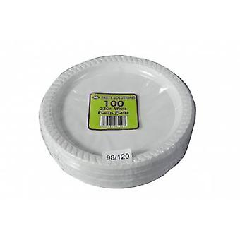 Pack of 100 23cm White Plastic Plates