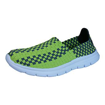 Air Tech Pessoa Womens Slip On Woven Trainers / Shoes - Lime Green