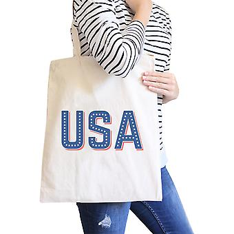 USA With Stars Natural Unique Design Canvas Tote For 4th of July