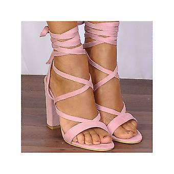 Shoe Closet Lace Up Heels - Baby Light Pink Lace Ups Wrap Round Strappy Sandals High Heels