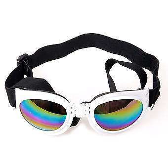 DIGIFLEX folde justerbar Medium hund solbriller Goggles hvid