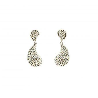 W.A.T Clear Swarovski Crystal Teardrop Shaped Fashion Earrings