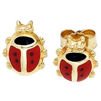 Kids Ladybug Stud Earrings red 333 gold yellow gold earrings for girls
