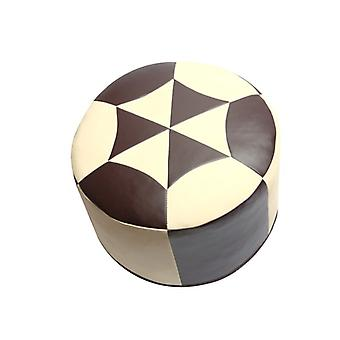Seat cushion Pouffe Oriental pillow around faux leather dark brown/champagne, width 50 cm, height 34 cm