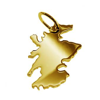 Trailer map Scotland pendant in solid 585 gold