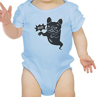 Boo French Bulldog Bodysuit First Halloween Baby Bodysuit Blue Cotton