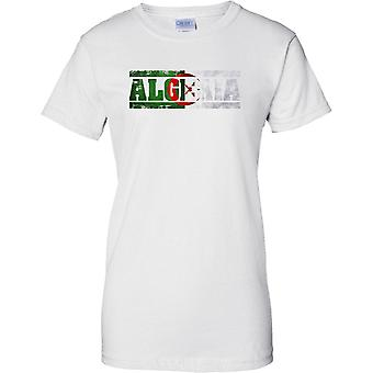 Algeria Grunge Country Name Flag Effect - Ladies T Shirt