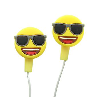 Emoji Super Cool Dude Face Earphones With Silicone Buds For Phones & Tablets