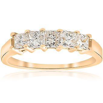 Aniversario de diamante de corte princesa de 1ct de 14 K anillo de oro