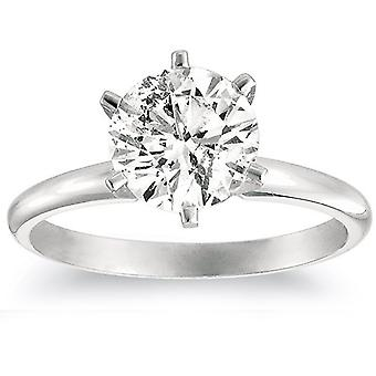 1 1/4ct Solitaire Diamond Engagement Ring 14K White Gold