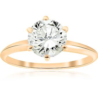 Gold 1 1/2ct Round Solitaire Diamond Engagement Ring
