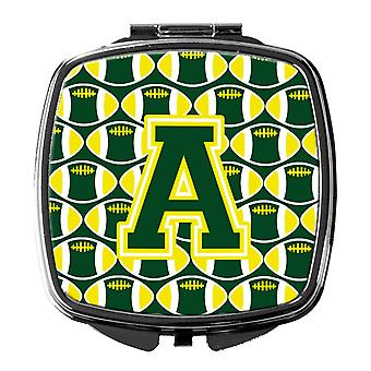 Letter A Football Green and Yellow Compact Mirror