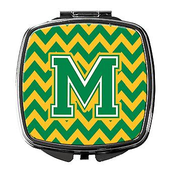 Carolines Treasures  CJ1059-MSCM Letter M Chevron Green and Gold Compact Mirror