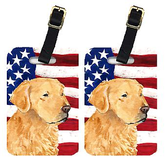 Pair of USA American Flag with Golden Retriever Luggage Tags