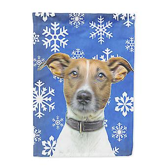 Winter Snowflakes Holiday Jack Russell Terrier Flag Garden Size