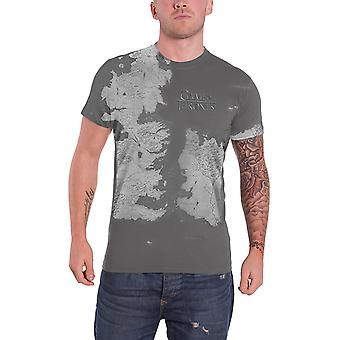 Game Of Thrones T Shirt Westeros Map Official Mens New Slim Fit Sub Dye Print