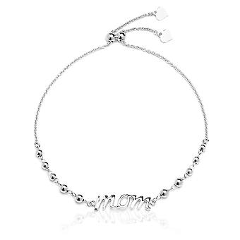 Sterling Silver Adjustable Mom Bracelet with Beads for Mothers,  Expandable 9 Inch