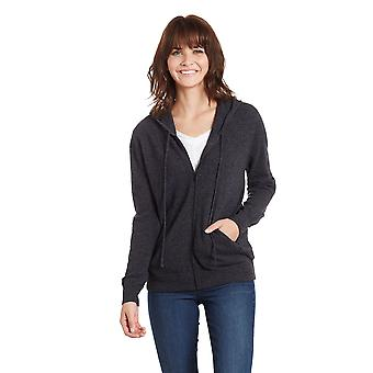 Women's 100% Cashmere Zippered Hoodie Cardigan with Pockets